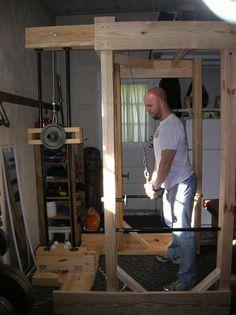 DIY power rack with lat pulldown