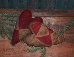 Primitive Stuffed Heart Ornaments. Handmade by Prairie Primitives Folk Art.