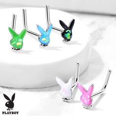 Playboy Pink AB Stone Bunny with Black Gem Eye 316L Surgical Steel Industrial Barbell