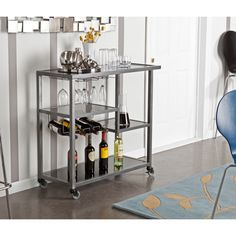 Holly & Martin Zephs Gunmetal Grey Bar Cart (HZ8810), Silver