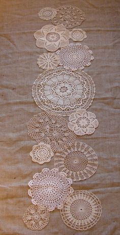 lace table runner and burlap by JeanL