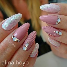 Pink Mermaid Nails and white