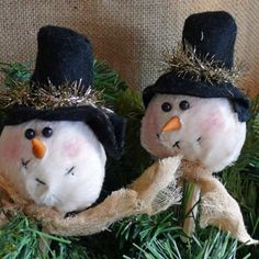 free images of christmas ornies to make | Snow Head Clothespin Ornies Handmade Snowman by SnowmanCollector