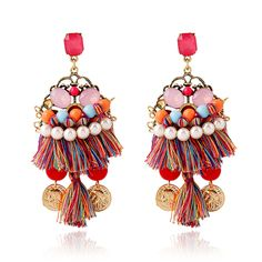 2014 brincos pendientes vintage fashion jewelry wholesale pearl tassel earrings ethnic hand woven bohemian earrings E1049-in Drop Earrings from Jewelry & Accessories on Aliexpress.com | Alibaba Group