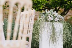 Shot at Pyrgos Petreza in Greece, this chic botanical wedding styling is set amongst Mediterranean greenery and olive groves. Wedding Flower Decorations, Wedding Flowers, Wedding Shoot, Wedding Ideas, Botanical Wedding, Happily Ever After, Ladder Decor, Wedding Styles, Greenery