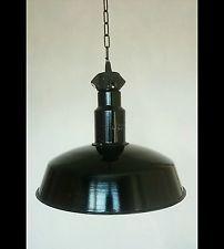 BAUHAUS BLACK INDUSTRIAL ANTIQUE RETRO VINTAGE PENDANT  FACTORY ENAMEL LAMP