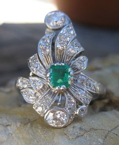 Edwardian Belle Epoque Diamond & Emerald Platinum Ring from Circa 1700 at rubylane.com