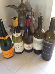 New Years Eve selection - only bottle missing was Moët. Veuve, Ramey Chard, Patz and Hall Pinot, Joseph Phelps, and a new one Landslide Fire (cliff ledge)