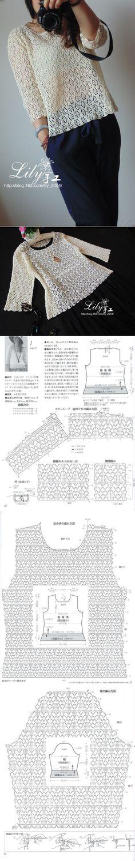 "Ажурный пуловер крючком ... ♥ Deniz ♥ [   ""Crochet top with pattern"" ] #<br/> # #Crochet #Top #Patterns,<br/> # #Crochet #Tops,<br/> # #Crochet #Blouse,<br/> # #Crochet #Sweaters,<br/> # #Crochet #Projects,<br/> # #Knitting,<br/> # #Crochet #Blouses,<br/> # #Blusas #Tejidas,<br/> # #Tissue<br/>"
