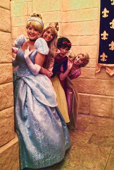 Princess Cinderella, Aurora, Snow White and Rapunzel at Princess Fairytale Hall in the Magic Kingdom at Walt Disney World