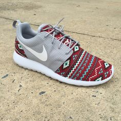 """Brand New Authentic Nike Roshe Run Custom which features a """"Aztec"""" on a maroon background! These look great at anytime of the year with i..."""