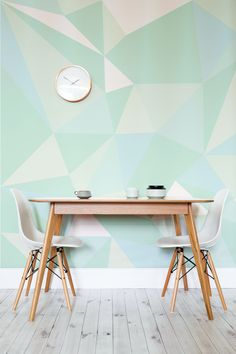 Reinvent your interiors with this wonderfully vibrant and fresh mint geometric wallpaper. It looks fantastic in kitchen and dining room settings, adding a contemporary feel to your home. Geometric Wallpaper Murals, Mint Wallpaper, Wallpaper Ideas, Geometric Prints, Wallpaper Designs, Geometric Kitchen Wallpaper, Geometric Temporary Wallpaper, Geometric Wall Paint, Wallpaper Borders