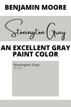 Stonington Gray HC-170 by Benjamin Moore is a soft and refined gray paint color that will bring elegance to any space. Find out why this is such a popular gray paint color. Benjamin Moore Stonington Gray, Coventry Gray, Benjamin Moore Exterior Paint, Exterior Gray Paint, Best Gray Paint Color, Neutral Paint Colors, Farmhouse Paint Colors, Sherwin William Paint, Popular