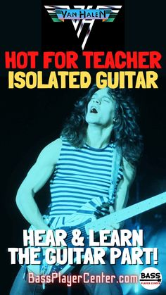 """Check out this isolated guitar (guitar only) track for """"Hot For Teacher"""" by Van Halen. It helps you hear and learn the guitar part to the song! #VanHalen #EddieVanHalen #GuitarTracks #IsolatedGuitar Play Guitar Chords, Learn Bass Guitar, Guitar Songs, Best 80s Songs, Teach Yourself Guitar, Alternative Songs, Metal Songs, Guitar Lessons For Beginners, Workout Songs"""
