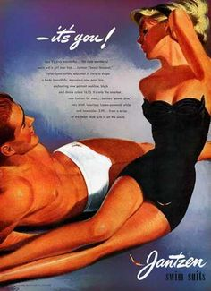Babes & Bathers: History of the Swimsuit June - November 2014 From swimming costumes to bikinis, bathing suits styles have fluctuated from the modest to the more revealing, all in a desire to make us fashionable by the water's edge. Vintage Bathing Suits, Vintage Swimsuits, Vintage Advertisements, Vintage Ads, Vintage Style, Retro Advertising, 1950s Style, Vestidos Pin Up, Jean Christophe