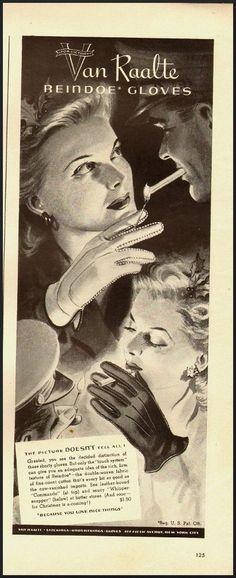 1942 Vintage ad for Van Raalte Reindoe Gloves/Beautiful illustration (022113)