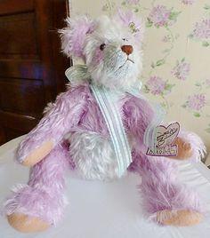 "Annette Funicello Plush Mohair 16"" Teddy Bear Aqua & Lavender Jointed"