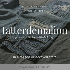The #wordoftheday is tatterdemalion. #merriamwebster #dictionary #language