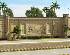 New ideas classic boundary wall design Home Gate Design, Fence Wall Design, House Front Wall Design, Exterior Wall Design, Facade Design, Interior Exterior, Classic House Exterior, Classic House Design, Dream House Exterior