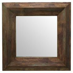 "Add a classic touch to your entryway or living room with this square wall mirror, showcasing a brown-finished wood frame.  Product: Wall mirrorConstruction Material: Wood and mirrored glassColor: Brown frameDimensions: Frame: 35.5"" H x 35.5"" W x 2.75"" DMirror: 21"" H x 21"" W"