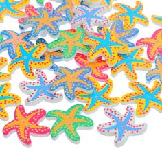 50PCs Wooden Buttons Two Holes Crafts And Scrapbooking Starfish Design Randomly Mixed