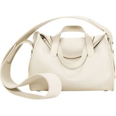 The Row White Drum Bag (27.235 ARS) ❤ liked on Polyvore featuring bags, handbags, white, 100 leather handbags, top handle purse, zipper bag, top handle handbags and white leather handbags