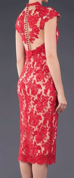 219 Red lace pencil dress.