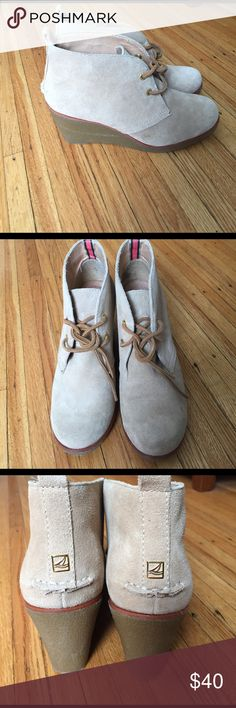Sperry Wedge Booties Tan Sperry Wedge Booties. Size 8. Small spot on right shoe. Sperry Shoes Wedges
