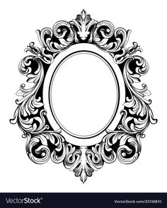 Baroque mirror round frame french luxury vector image on VectorStock Victorian Mirror, Baroque Mirror, Victorian Design, Filigrana Tattoo, Picture Frame Tattoos, Planner Bullet Journal, Gravure Metal, Mirror Tattoos, Framed Tattoo
