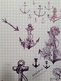 Sketching for an anchor tattoo