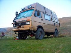 Photo by Jed Walsh Popup Camper, Bus Camper, Camper Trailers, Vw Bus, Vw Lt 4x4, Expedition Truck, 4x4 Van, Cool Vans, Vintage Vans