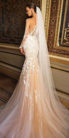 """Dramatic elegance is oozing out of every single wedding dress in Milla Nova """"White Desire"""" 2017 Bridal Collection. Every bridal gown brings gorgeous style. Wedding Dress Sleeves, Bridal Wedding Dresses, Dream Wedding Dresses, Lace Wedding, Crystal Wedding, Mermaid Wedding, Bridesmaid Dresses, Bridal Collection, Dress Collection"""