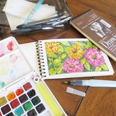 How to make a watercolor travel kit and  watercolor flower journal.