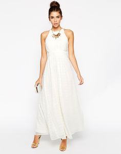 Image 4 ofLittle Mistress Petite Embellished Halter Neck Maxi Dress