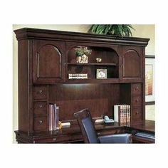 """Rue De Lyon Executive 48.75"""" H x 73"""" W Desk Hutch by DMI Office Furniture. $1079.00. Two side storage cabinets, each with a hinged door and adjustable shelf.. Traditional styling with shaped crown and base mouldings, picture frame door fronts and classic arch detail.. Six CD storage drawers slide on side channels.. Crafted from maple solids, select hardwoods and hardwood veneers on select wood products.. Center display section with adjustable shelf and accent lighting.. 7684-62..."""