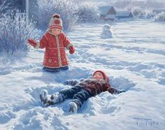 Primitive Country Framed Art Prints Snow Angels Robert Duncan This print is available in I Love Snow, I Love Winter, Winter Fun, Winter Time, Winter Snow, Snow Fun, Christmas Art, Winter Christmas, Vintage Christmas