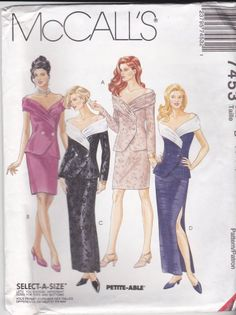 McCalls Sewing Pattern 7453 Misses Size 8-12 Formal Unlined Top Straight Skirt Two Lengths