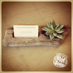 Custom driftwood planter & business card holder - love this!
