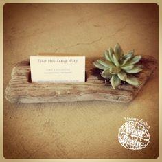 business card holder  ||  Custom driftwood planter & business card holder - love this!