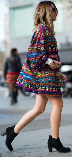Multi Indie Patches Oversize Jacket by Mes Voyages à Paris - ALANGOO Style Inspiration