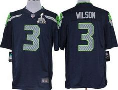 7b3fb5c77 Seattle Seahawks  3 Russell Wilson Nike Blue Game 2015 SuperBowl Jersey.  Size S
