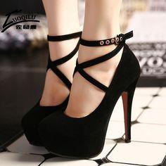 2017 Sexy Women Shoes High Heels Pumps Platform Shoes Wedge Ladies Wedding Shoes Woman Black blue Extreme High Heels