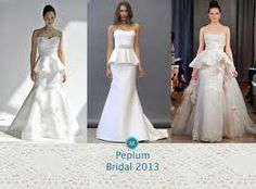 Peplum is a flirty but elegant style that is popular among spring brides. |http://www.jardinweddings.com/2013-spring-bridal-gown-trends