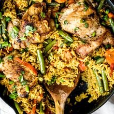 """One Pan Thai Coconut Yellow Curry Chicken & Rice - """"with plenty of veggies and delicious flavors from coconut milk, ginger, garlic and turmeric."""" - (You had me at curry, or was it coconut, or was it Thai. One Pan Meals, Easy Meals, Curry Chicken And Rice, Thai Chicken, Chicken Soup, Un Diner Presque Parfait, Healthy Dinner Recipes, Cooking Recipes, Lunch Recipes"""