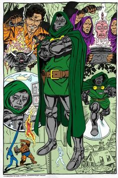 John Byrne's take on Doctor Doom, maybe the greatest of all comic book supervillains. Dr Doom Marvel, Marvel Comics Superheroes, Marvel Villains, Marvel Comic Books, Anime Comics, Comic Books Art, Marvel Dc, Comic Book Artists, Comic Book Characters