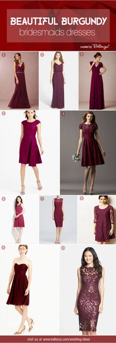 Burgundy Bridesmaids' Dresses: 10 Styles From Classic to Chic to Charming #burgundybridesmaidsdresses #burgundydresses