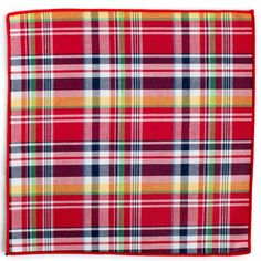 Red Plaid Pocket Square from King Kravate - The Neckwear Of Kings