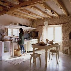 Beams and small rustic kitchen.