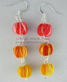 Mini yarn ball earrings