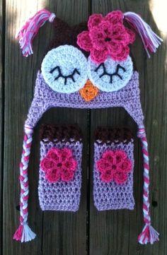 Newborn Baby Girl Sleepy Crochet OWL Purple n Brown Beanie Hat n Leg  Warmers Set - e8323995685b